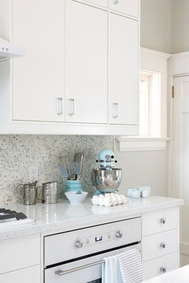 modern kitchen white stainless steel appliances colorful small decor