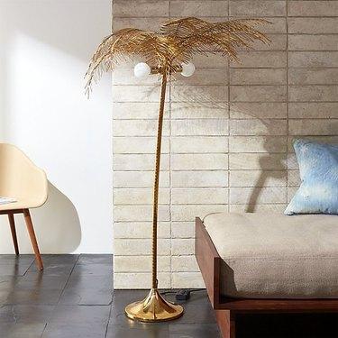 cb2 palm floor lamp