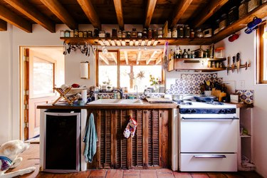 rustic kitchen wall mounted shelves