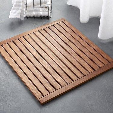 slatted teak bath mat by CB2