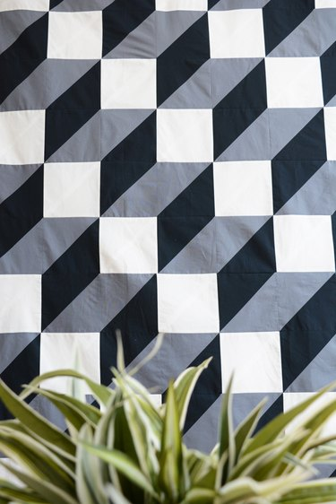 quilt with plant