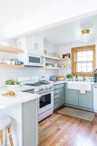 white stainless appliances