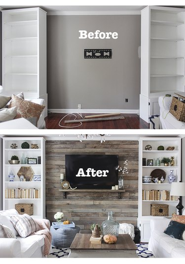 Before and after of pallet accent wall