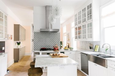 minimal white kitchen ceiling light