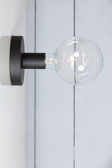 Matte Flat Black Wall Sconce - Bare Bulb Light