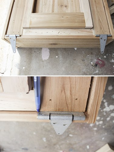 Attaching large 4 inch hinges to box frame.