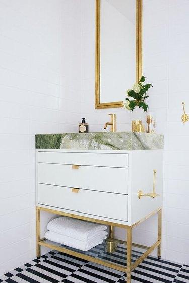 green marble slab bathroom vanity