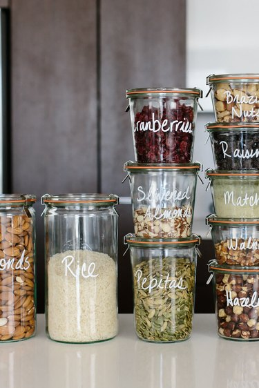 How to Organize a Pantry with glass jars