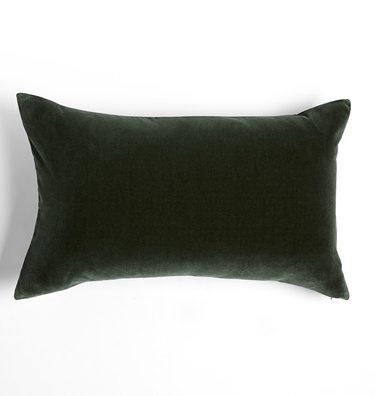 Dark green velvet lumbar pillow