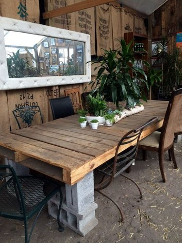 rustic cinderblock table