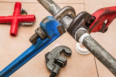 plumbing tools and pipe