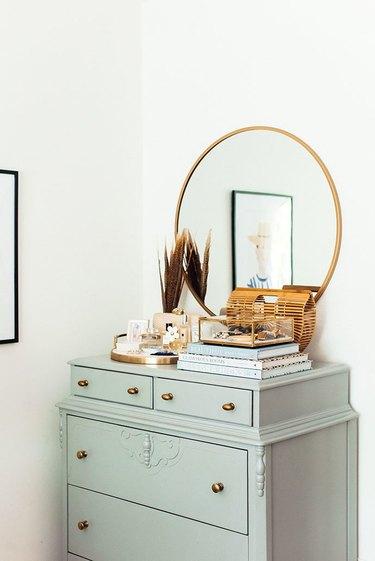 vintage dresser in bedroom
