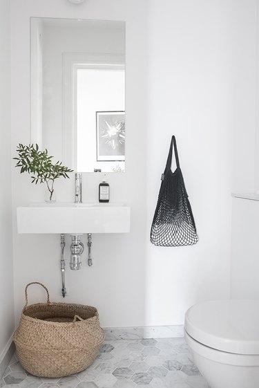 single green plant in scandinavian bathroom