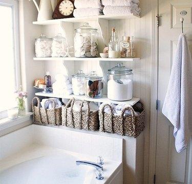 above bath linen closet DIY