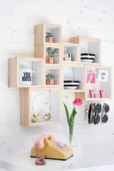 DIY square wall shelf