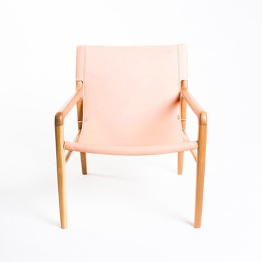 Blush minimal armchair with wooden frame