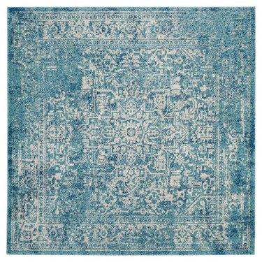 Blue variegated square area rug