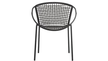 black rattan woven chair