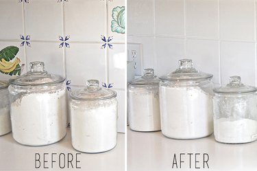 Before and After photos of painted kitchen tile