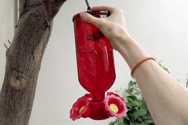 Hand moving a hummingbird feeder.