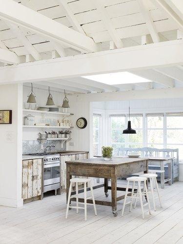 airy bright beach kitchen
