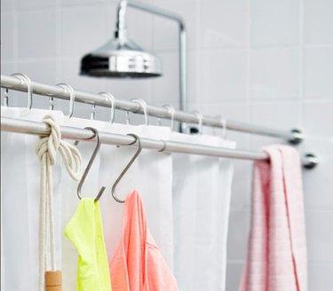 S hooks shower rod bathroom