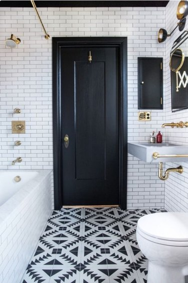 Black bathroom door
