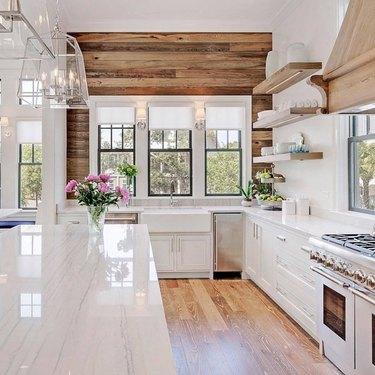 modern kitchen white stainless steel appliances natural design materials
