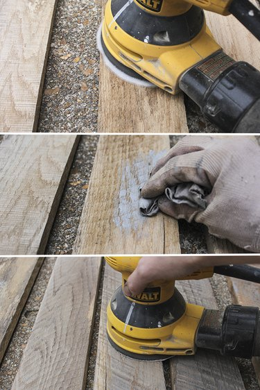 Sanding and staining pallet wood