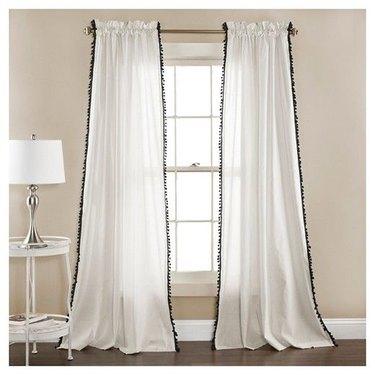 Linen Pom Pom Window Curtains