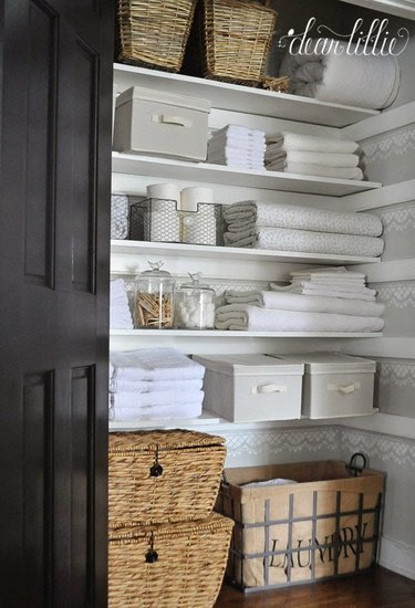 Off white and ivory linen closet