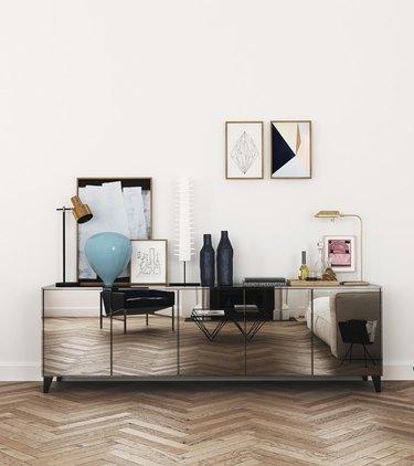 mirrored console chevron parquet floor