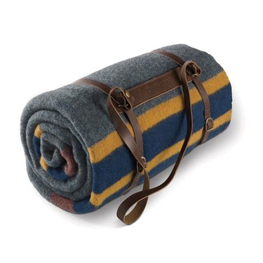 A blue, yellow, and gray-striped blanket with a leather strap.