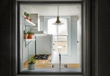 Should Wall Color Match Kitchen Cabinets in kitchen with seafoam green
