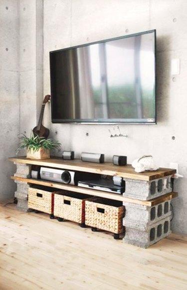 cinderblock tv cabinet