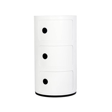 Round white mod storage cabinet with three drawers and black details