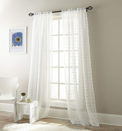 Olly Pom-Pom Sheer Window Curtain Panel
