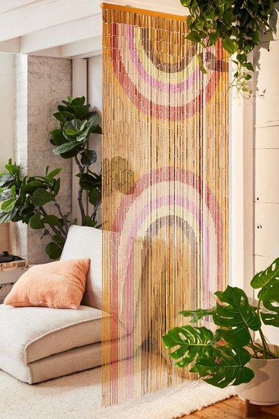 Rainbow Bamboo Beaded Curtain