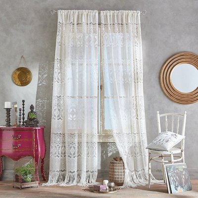 Boho Lace Poletop Ivory Curtains