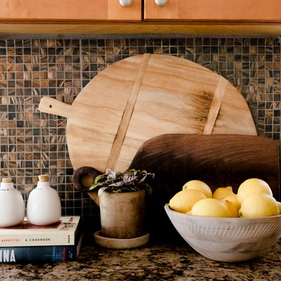focus on items arranged on a granite countertop