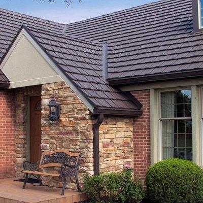 House with metal shingles.