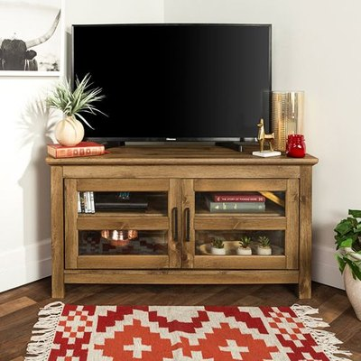 Light wood corner TV unit