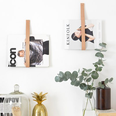leather wall strap magazine holders