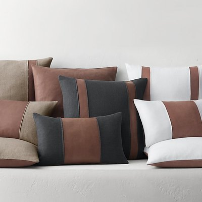distressed leather and linen pillow covers