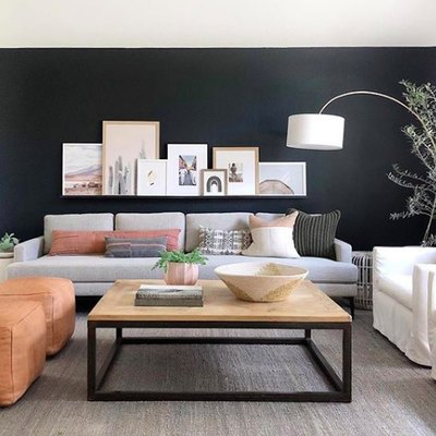 A Black Accent Wall Defines a Contemporary Living Room