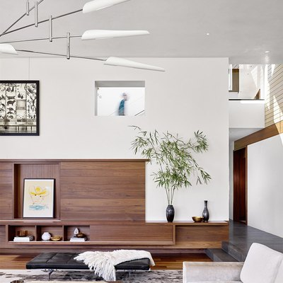 built-in millwork in contemporary living room
