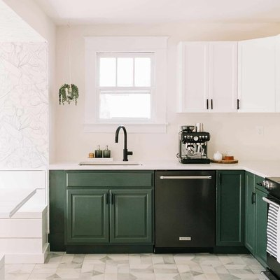 kitchen with green cabinets and ceramic floor tile