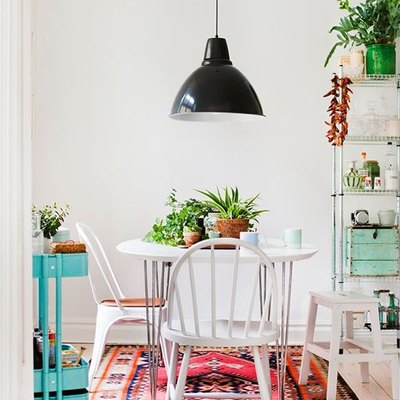 Bohemian Dining Room with industrial flair