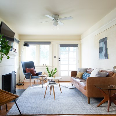Living room in a sunny California bunglow