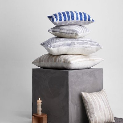 striped gray pillows